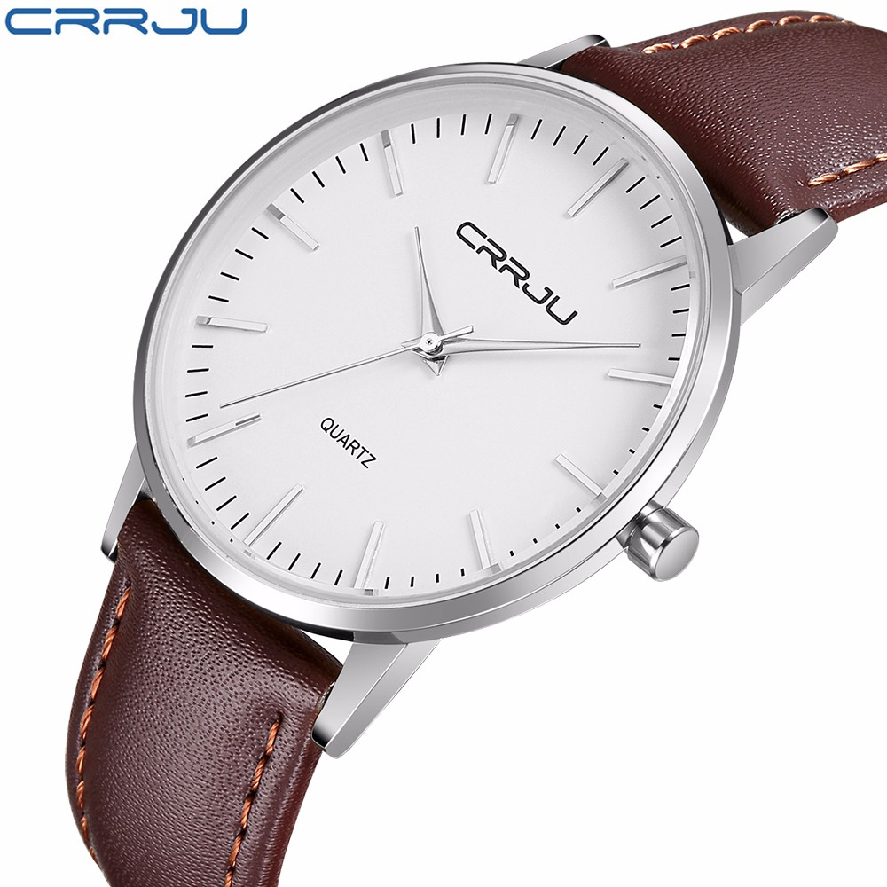 New Fashion top luxury brand CRRJU watches men quartz-watch stainless steel mesh strap ultra thin dial clock relogio masculino<br><br>Aliexpress