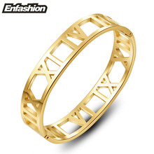 Enfashion Roman Numerals Bangle Bracelet Cuff Bracelets For Women Gold Color Bangle Stainless Steel Bangles Jewelry Wholesale