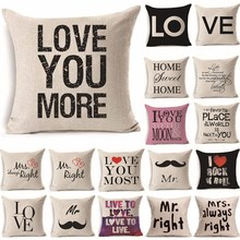 1Pcs 45*45cm Love Mr Mrs Heart Pattern Cotton Linen Throw Pillow Cushion Cover Car Home Sofa Decorative Pillowcase 40247