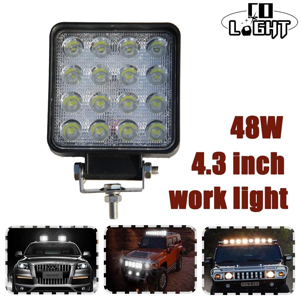 CO LIGHT 1 Pair 3w*16pcs Chip Led Work Light 4.3 Spot Flood Beam Driving Light Fog Lamps Car Boat Bike ATV SUV Truck Motorcycle<br>