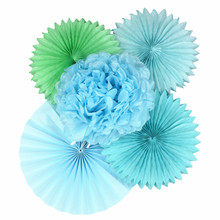 Blue Color Wedding Party Decorations Kids Paper Folding Fan DIY Wedding Party Decorations Tissue Paper Fan Flowers(China)