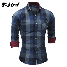 T-Bird New Fashion Brand 2017 Business Men Shirt Big Grid Dress Shirt Long Sleeve Slim Fit Casual Male Hawaiian Shirts M-Xxl