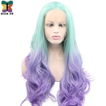 HAIR SW Long Loose Wave Synthetic Lace Front Wig Light Green Ombre Lavender Purple Natural Glueless High Temperature Fiber Women