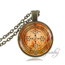 Magic Circle of Solomon Pendant,Seal of Solomon Necklace,Sacred Geometry,Kabbalah Necklace Glass Dome Occult Wiccan Necklace