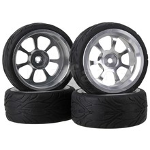 Mxfans 4x RC 1:10 On-Road Car Aluminum Wheel Rims &Black Fish Scale Rubber Tyre