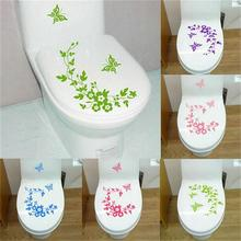 Decorative Butterfly Flower vine bathroom vinyl wall stickers home decoration wall decals for toilet sticker(China)