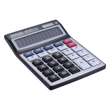 Home Office Business Standard Function Desktop Electronic Calculator 12 Digits Solar and Battery Dual Power Supply Metal Panel(China)