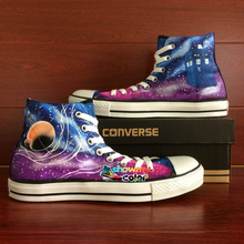 Original Converse All Star High Top Canvas Shoes Blue Purple Galaxy Space Police Box Design Hand Painted Canvas Sneakers