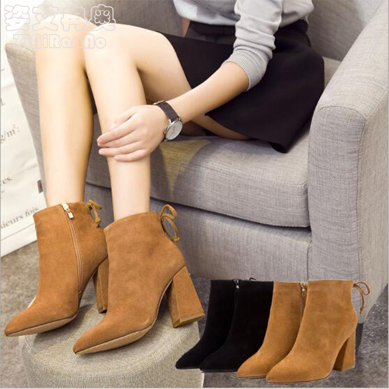 Autumn Winter Shoes Woman Fashion Warm Ankle Boots Sexy Bow Knot Womens Shoes Pointed Toe 9 CM High Heels Flock Women Shoes<br><br>Aliexpress