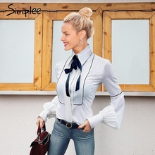 Buy Simplee Elegant puff sleeve white blouse shirt 2017 Autumn winter sleeve bow blouse women blusas Slim new tops chemise femme for $17.99 in AliExpress store
