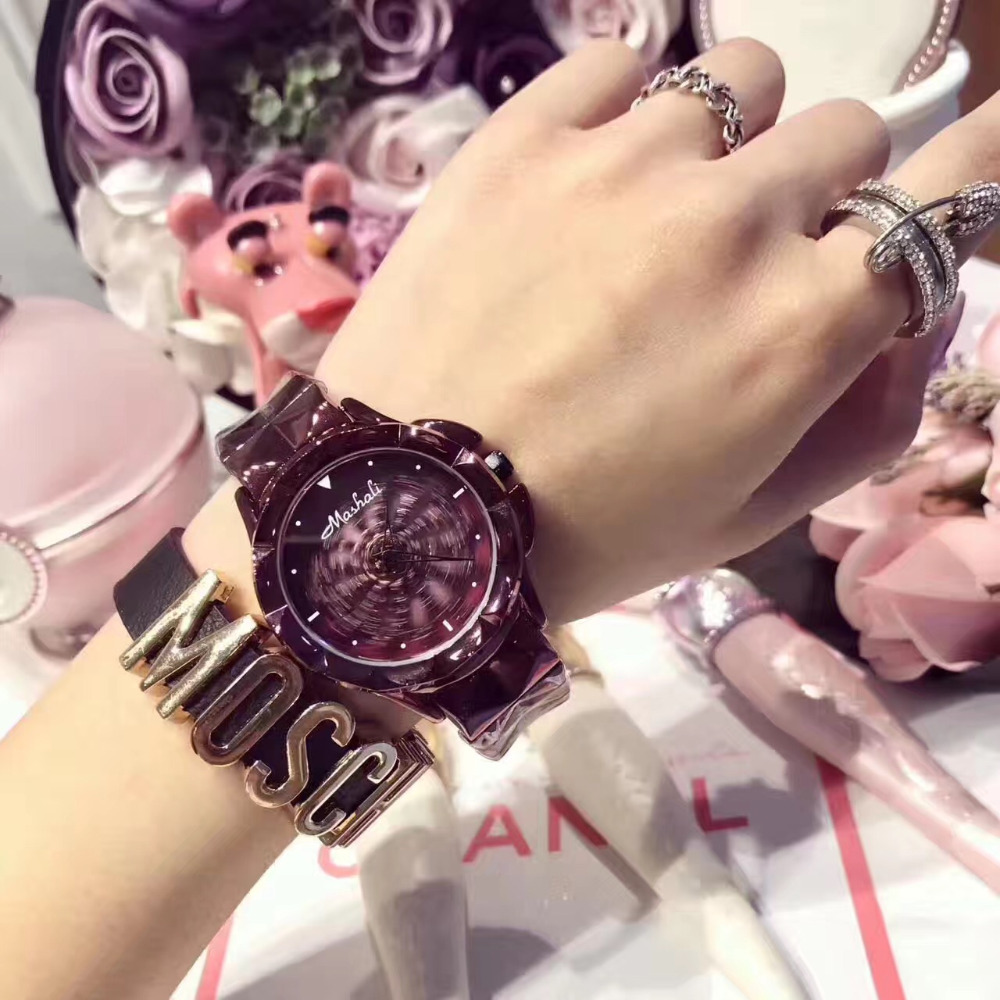 2017 New Women Watch Stainless Steel Watches Lady Shining Rotation Dress Watch Big Diamond Stone Wristwatch Lady Rose Gold Watch<br>
