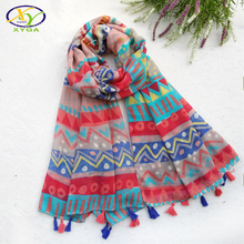 1PC 180*100CM 2017Spring New Japanese Style Acrylic Women Big Size Long Tassels Scarf Woman New Viscose Cotton Shawls Fashion
