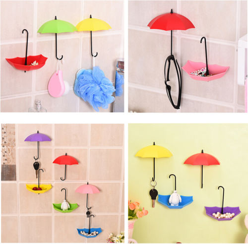 Enipate 6x cute umbrella design wall hooks Sundries Hook Hanger Home wall decor(China)