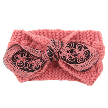 Fashion Comfortable Fabric Classic Butterfly Knot Woolen Weave Winter Headband Women   Warm Headband