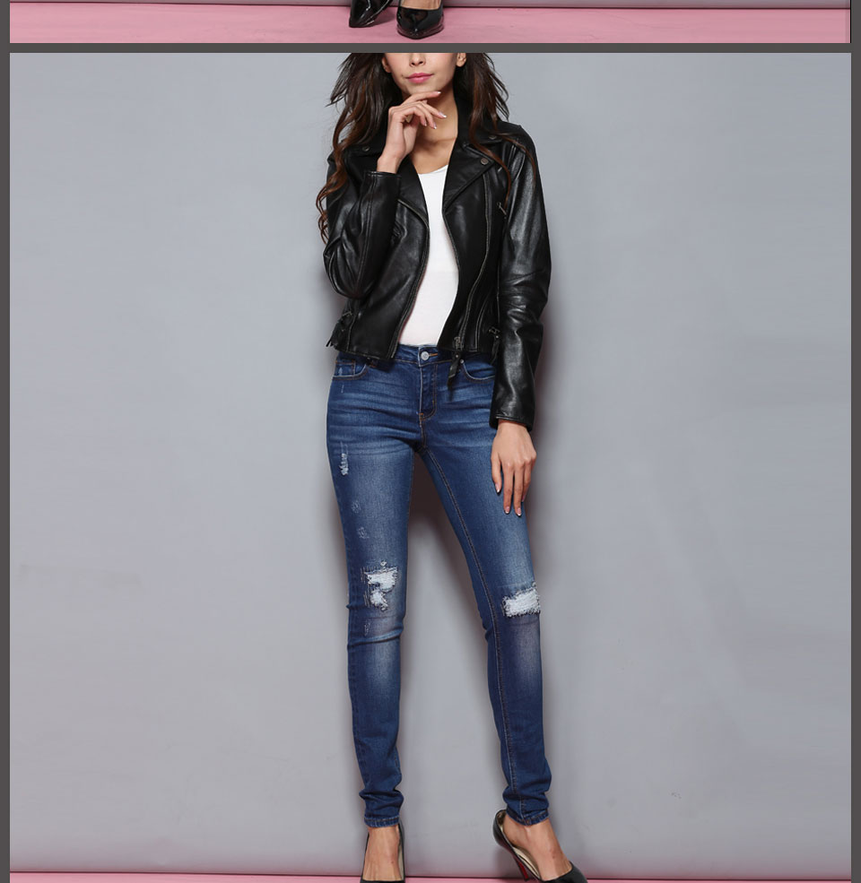 Alice & Elmer Hole Ripped Jeans Women Jeans Woman Jeans For Girls Stretch Mid Waist Skinny Jeans Female Pants 10