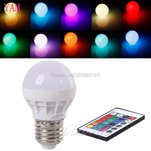 3W E27 AC 85-265V RGB LED Light Bulb Lamp Color Changing+IR Remote Control S08 Drop ship(China)