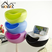 1PC Multifunctional Plastic Double Layer Dry Fruit Containers Snacks Seeds Candy Storage Box Garbage Holder Plate Dish Organizer
