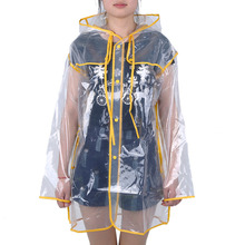 Universal Transparent Rain Coat PVC Vinyl Waterproof Raincoat Outdoor Travel Runway Hooded Poncho Rain Coats Ladies Rainwear(Hong Kong)