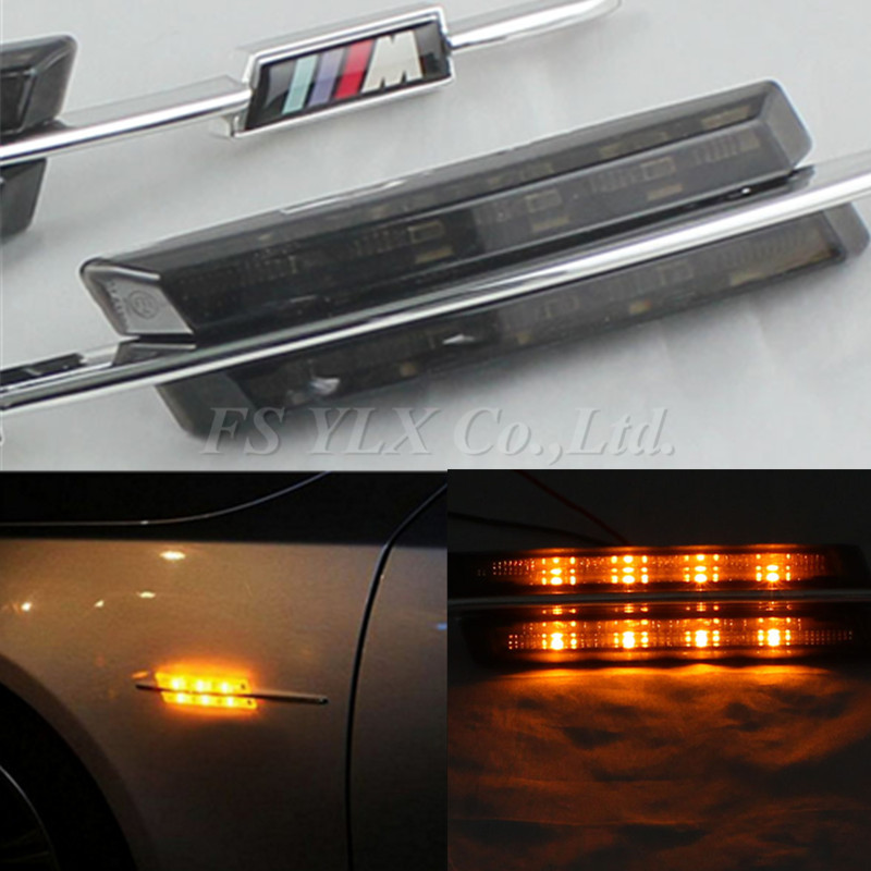 FSYLX Error Free LED side Marker light Turn signal lamp for BMW E81 E82 E87 E88 E90 E91 E92 E60 E61 with M logo<br>