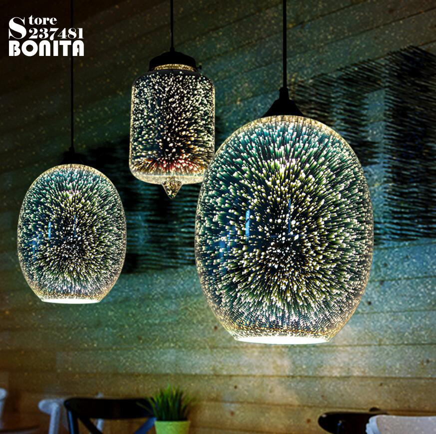 3D glass cord pendant lamp  attic American Modern industrial style pendant lights for restaurants bar coffee shop droplight loft<br>