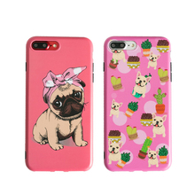 Hongmeng Cute Cartoon Animal pet Dog BULLDOG Cactus Phone Case For iPhone 6 6s Plus 7 8 Plus X Soft Silicon Gel Skin Cover(China)