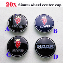 Best Match 20pcs 62mm Auto Wheel Hub Logo Cover Carbon Fiber saab label Car Wheel Emblem Cap