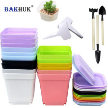 BAKHUK 16pcs Plastic Plant Pots with Saucer, Flower Pot, 3 sets Planting Tools & 20 pcs Plant Tags as Gift, 7 Colors(China)
