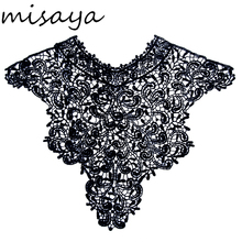 Misaya 1pc Polyester Black Flower Lace Neckline Fabric,Wedding Dress Collar Lace For Sewing Supplies Crafts