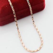 Slim 2.5mm 18inch Man Woman Unisex Rose Gold Color Filled Necklace Chains Cheap Jewelry(NO RED BOX)(China)