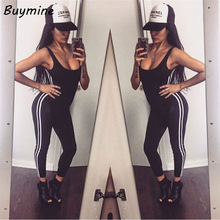 Women Fitness Jumpsuits Sexy Backless Sleeveless Jumpsuit 2017 Bandage Side Striped Bodysuits Elegant Black Playsuit Be Overalls