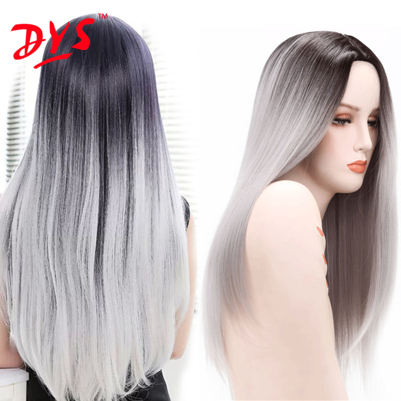 Ombre Heat Resistant Synthetic Wigs For Black Women Straight Synthetic Womens Long Silver Gray Wigs Dark Black Grey Ombre Wig 26<br><br>Aliexpress