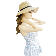 Summer Sun Hat With Bowknot Women Wide Brim Floppy Beach Hat Bohemia Lady Straw Hats Women Beach Sunscreen Cap For Shopping