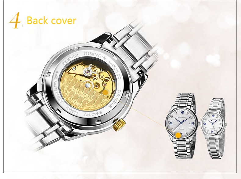 GUANQIN Luxury Lovers Watch Top Brand Women Men Watches Waterproof Sapphire Crystal 316L Stainless Steel Couple Watches 2 Pieces (19)