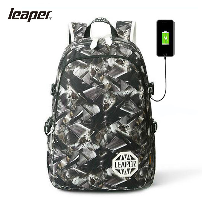 LEAPRE Men Backpack USB Charging Laptop Camouflage Printing Backpack Student Backpack School Bags For Teenagers College Bag<br>