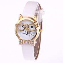 Relogio Feminino 2017 Fashion Brand Cute Cartton Glasses Cat Analog Quartz Dial Wrist Ladies Watches Women Gift Montre Femme