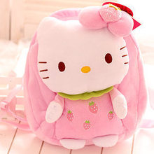 Super cute soft plush cartoon anime kawaii hello kitty fruit school backpack, creative birthday and graduation gift for girls(China)