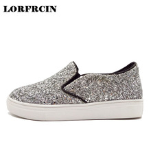 LORFRCIN Women Shoes Slip On Loafers High Quality Sequined Women Flats Shoes Platforms Silver Black Shoes Woman Plus Size 33-44