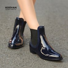 Koovan Rain Boots2016 new fashion solid color Women shoes pointed rain shoes Women boots water shoes Women rain boots