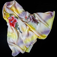 100% Silk Scarf Women Scarf Hand Painted Peony Silk Bandana 2017 Top Silk Hijab Big Square Silk Scarf Hot Luxury Gift for Lady(China)