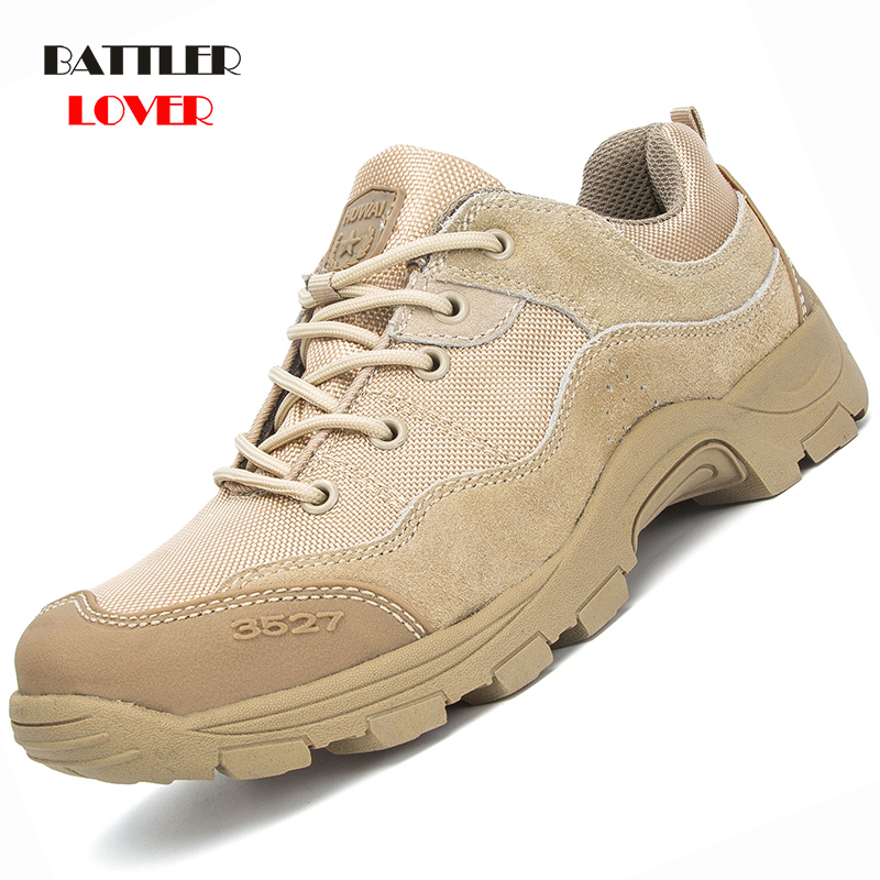 Military Tactical Boots For Men Genuine Cow Leather Outdoors Round Toe Sneakers Mens Casual Climbing Hiking Shoes Big Size 39-45