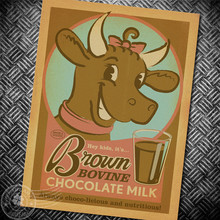 Brown bovine chocolate milk Vintage Poster  poster cafe bar pub living room decorative painting retro poster for kraft paper
