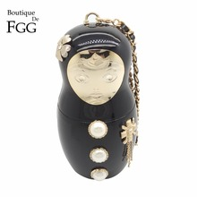 Boutique De FGG Russian Doll Women Fashion Handbags Beaded Evening Bags Acrylic Clutch Bag Party Dinner Handbags and Purses(China)