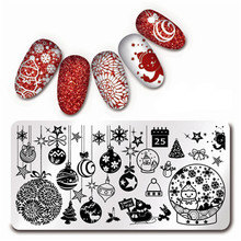 12*6cm Rectangle Nail Art Stamp Template Christmas Theme Snowflake Xmas Image Plate L001