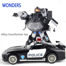 Alloy high quality Robocar Robot Transformation  Car Toys Alloy Deformation Robot Bus Toys For Kids children Christmas toy