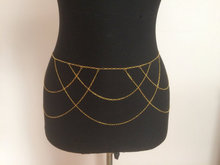 free shipping Gold Belly Chain, Belly Dance Gold brass patterned chain Draped Chain Belt