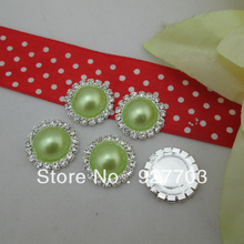 (CM454 17mm)50pcs Crystal Light Green Pearl Rhinestone Buttons For DIY Craft