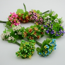 Mulberry party Artificial Flower Stamen wire stem/marriage leaves stamen 10PCS/lot DIY wreath wedding box decoration