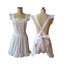 Fashion Kitchen Apron Woman Pure Color Princess Salon Hairdress Ruffled Cross Back Cosplay White Cotton Apron Avental Pinafore