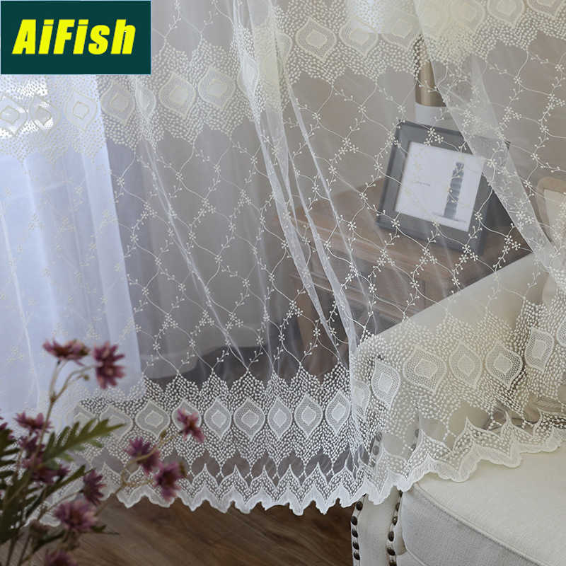 Embroiedred Geometric Floral White Sheer Curtains for Living Room Ready Made Curtain Tulle Kitchen Window Voile Drapery M0913
