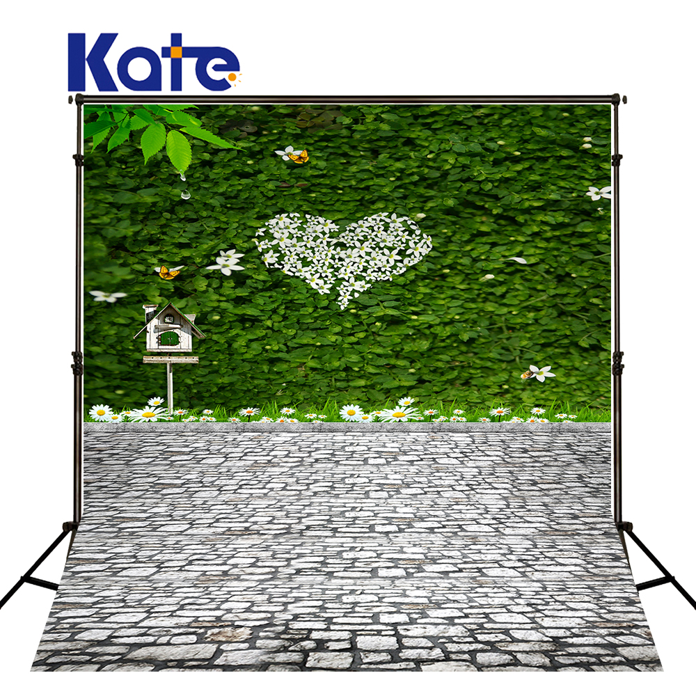 200x300cm Kate Wedding Green White Background Green Leaves With Flowers Butterflies Photography Photography Backdrops 3049 LK<br>